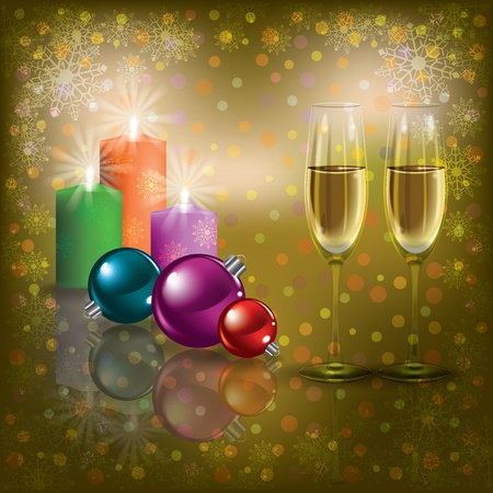 Abstract Christmas greeting with champagne and candles Vector