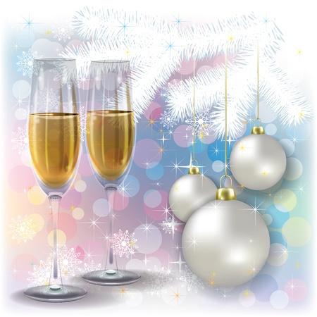 Glasses of champagne and candles: Tóm tắt chào Giáng sinh với rượu sâm banh và trắng trang trí Hình minh hoạ