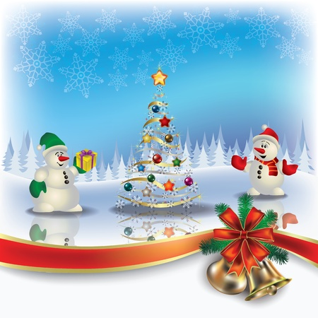 christmas fire: Abstract Christmas greeting with snowmen and tree Illustration