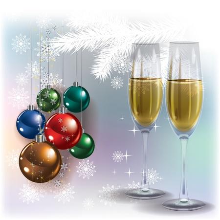 bollicine champagne: Astratto di auguri di Natale bianco con champagne e decorazioni