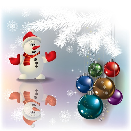 Abstract Christmas white greeting with snowman and decorations Vector