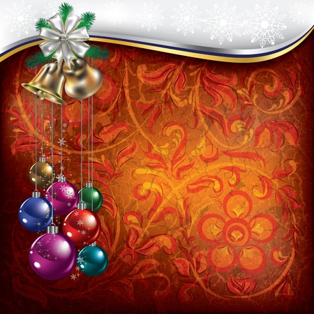 Abstract Christmas background with red floral ornament Vector