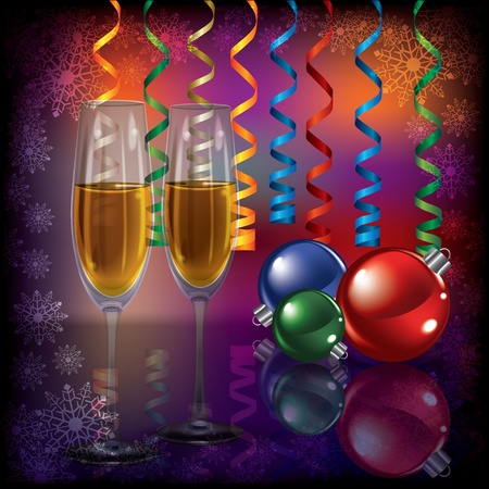 champagne celebration: Abstract Christmas dark greeting with champagne and decorations