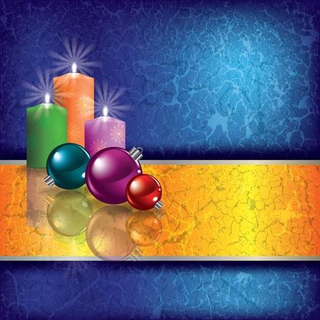 Abstract Christmas grunge background with candles on blue