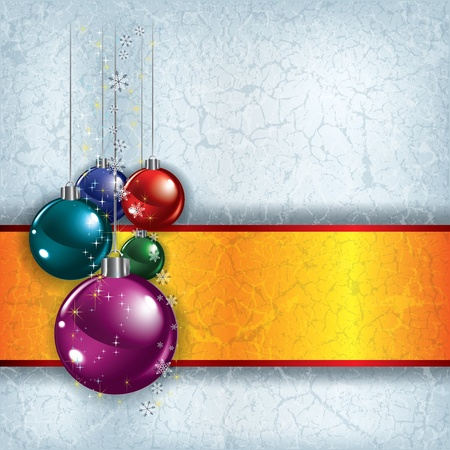 Abstract Christmas grunge background with decorations on grey Vector