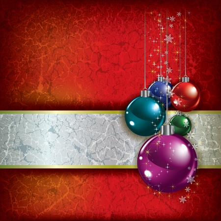 Abstract Christmas grunge background with decorations on red Stock Vector - 10703986