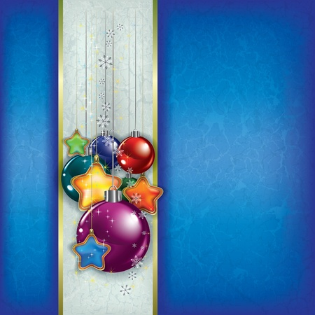 Abstract grunge background with Christmas decorations on blue Stock Vector - 10703987