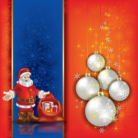 Abstract background with Christmas decorations and Santa Vector
