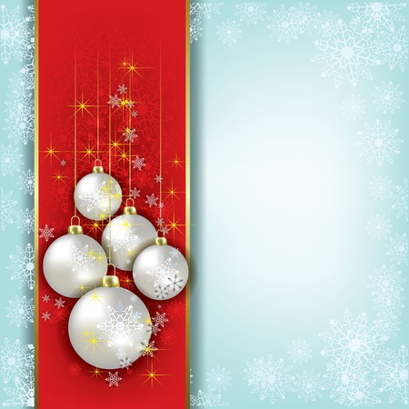 Abstract background with Christmas decorations and snowflakes Vector