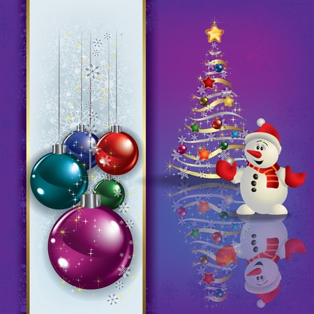 christmas tree illustration: Abstract greeting with Christmas tree and snowman
