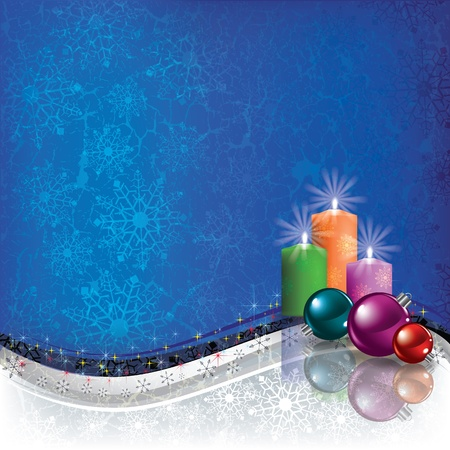 Abstract blue grunge background with Christmas decorations and candles Stock Vector - 10751576