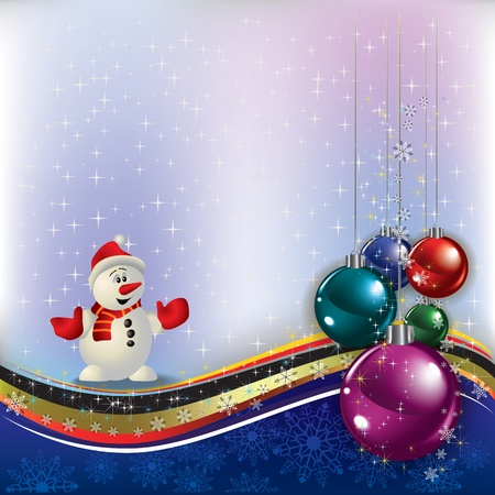 Abstract greeting with Christmas decorations and snowman Stock Vector - 10751578