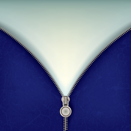 fastening: abstract blue background with open steel zipper