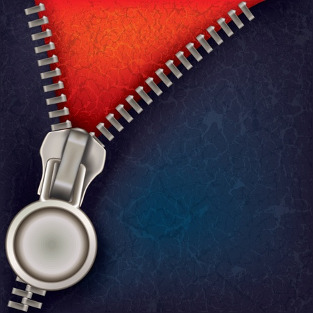 unzipping: abstract blue red background with open steel zipper