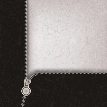 fastening: abstract grey background with metallic open zipper Illustration