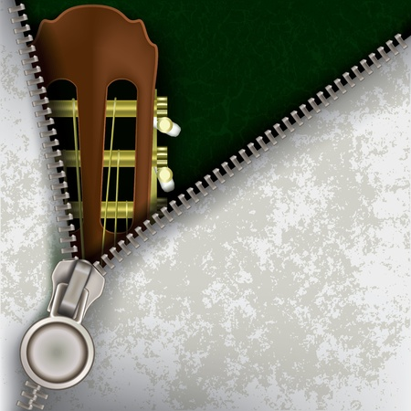 unzipping: abstract jazz background with guitar and open zipper Illustration