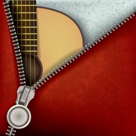 metal music: abstract music background with guitar and open zipper Illustration
