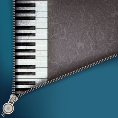 unzip: abstract music background with piano and open zipper