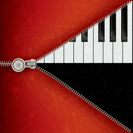 unzip: abstract music red background with piano and open zipper Illustration