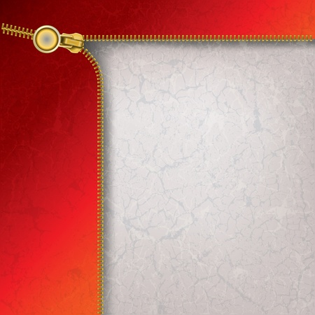 fastening objects: abstract red grey background with gold open zipper