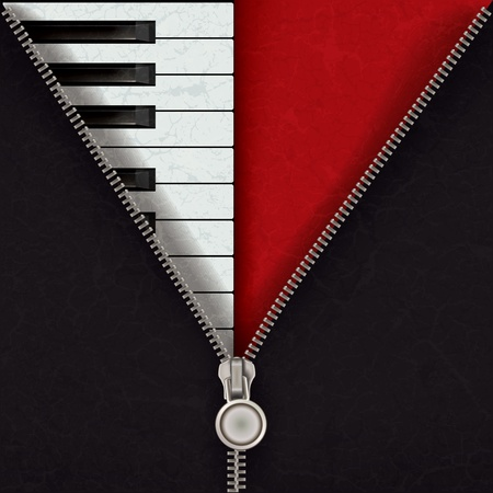 zip: abstract music red background with piano and open zipper Illustration