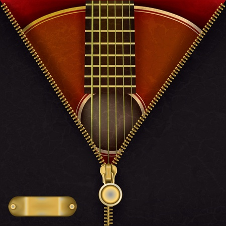 unzip: abstract music red background with guitar and open zipper