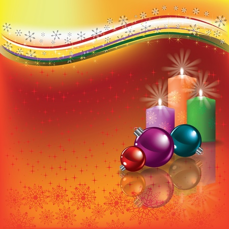 Abstract background with candles and Christmas decorations Stock Vector - 10821250
