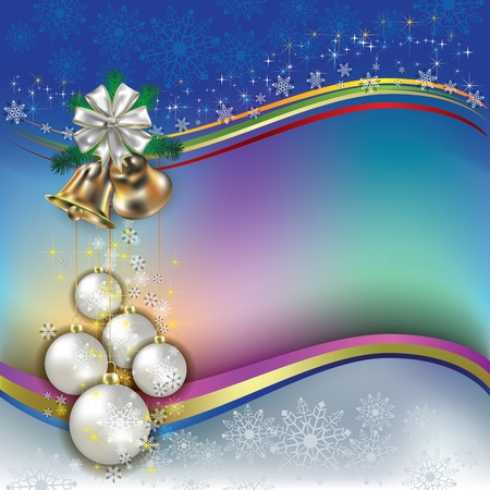 Abstract background with Christmas decorations and bells Vector