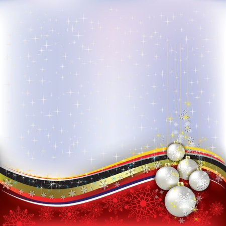 Abstract background with pearl Christmas decorations on red Vector