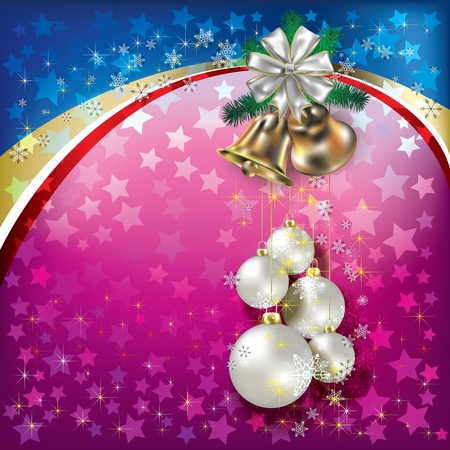 Abstract background with white Christmas decorations and bells Vector