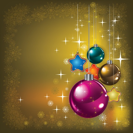 Abstract gold greeting with color Christmas decorations Vector