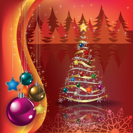 Abstract greeting with Christmas tree and decorations Vector