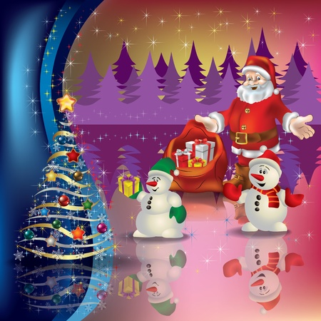 Abstract greeting with Santa and Christmas tree Vector