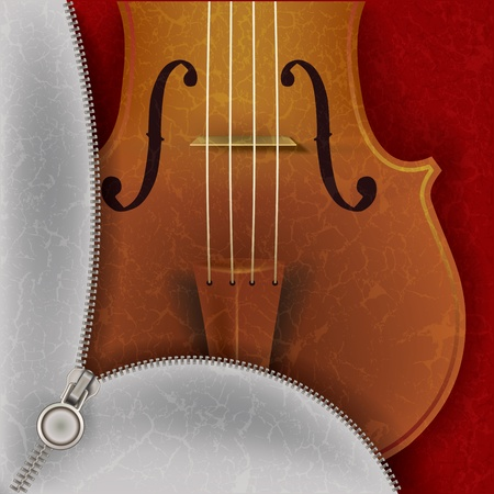 abstract music background with violin and open zipper Vector