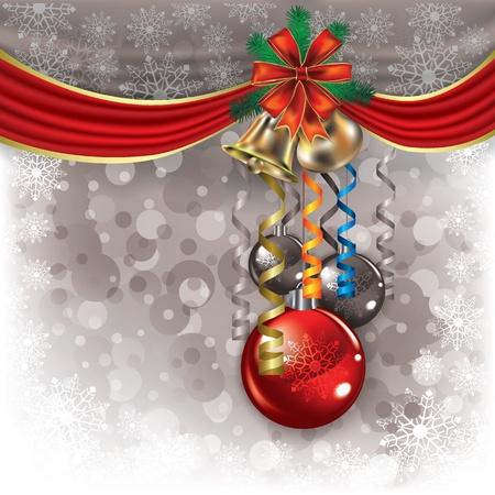 campanas de navidad: Resumen de fondo con las campanas de Navidad y adornos