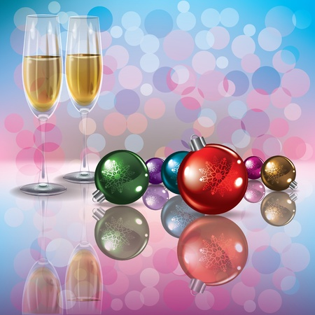 liquid crystal: Abstract background with Christmas decorations and champagne