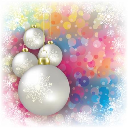 고요한 장면: 화이트 크리스마스 장식 및 눈송이와 추상적 인 배경 일러스트