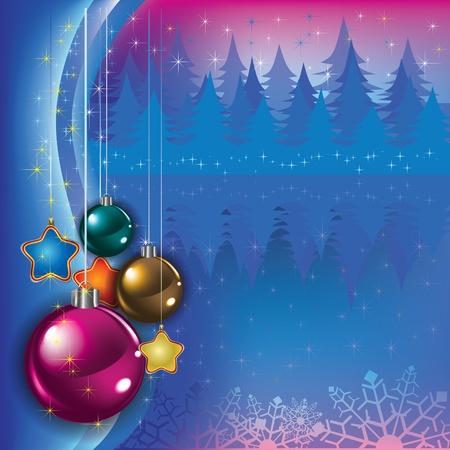 고요한 장면: 파란색 배경에 크리스마스 장식 추상 인사말