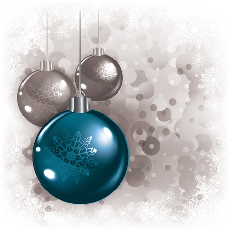 Abstract white background with Christmas decorations and snowflakes Vector