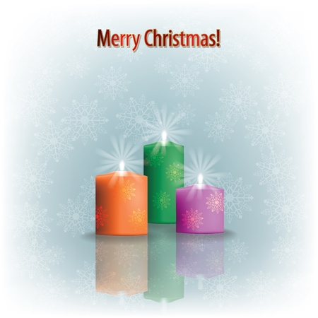 Abstract greeting with Christmas candles on grey Vector