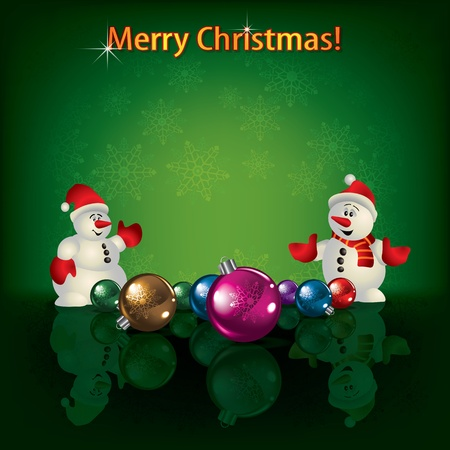 Abstract green greeting with Christmas decorations and snowmen Vector