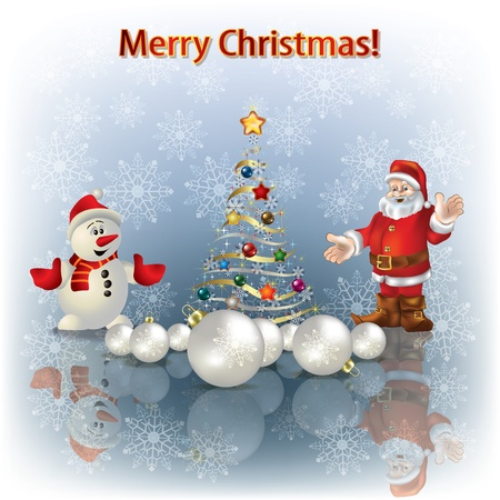 Abstract greeting with Christmas tree and Santa Claus Vector