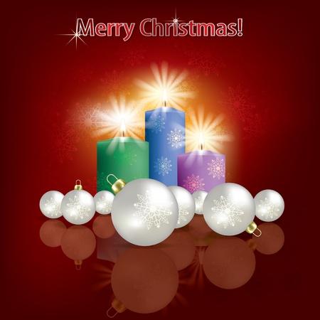 Saludo abstracto rojo con perlas adornos navide�os y velas Foto de archivo - 10893680
