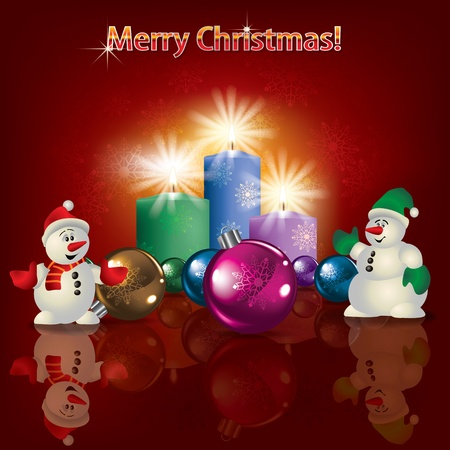 Abstract Christmas red greeting with snowmen and Christmas decorations Vector