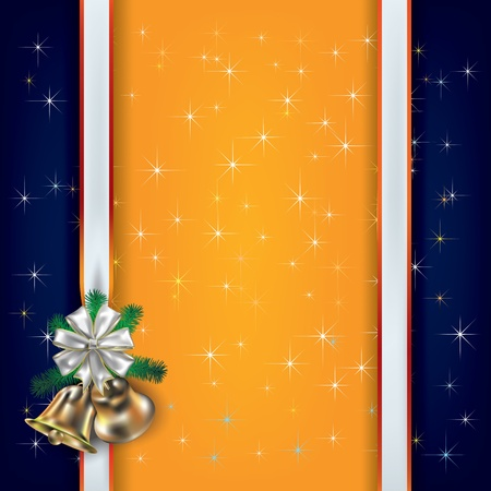 Abstract Christmas background with white gift ribbons and bells Vector