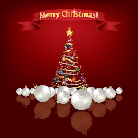 Abstract red Christmas greeting with tree and decorations Vector