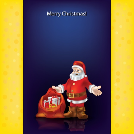 Abstract Christmas greeting with Santa Claus on blue Vector