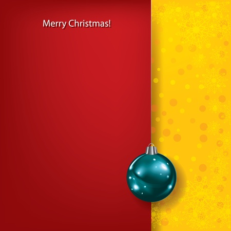 Abstract Christmas red greeting with blue ball Vector