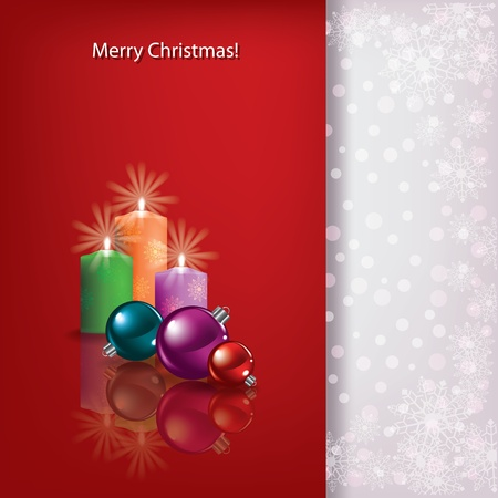Abstract Christmas red greeting with candles and balls Vector