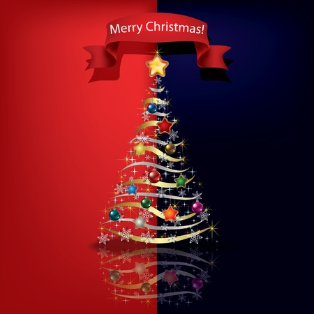 Abstract red blue greeting with Christmas tree Vector